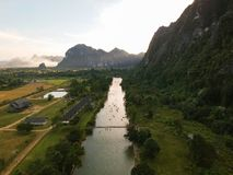 Beautiful view with Kayaking adventure, aerial view at vang vieng. Laos stock photos