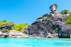 Beautiful view of Koh Similan No.8 Island with Sailing Boat Rock Royalty Free Stock Images