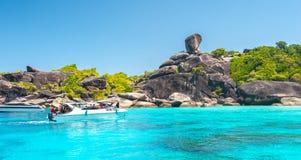 Beautiful view of Koh Similan No.8 Island with Sailing Boat Rock Royalty Free Stock Photography