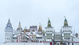 Beautiful view of kremlin in Izmailovo in winter snow Stock Images