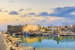 Beautiful view of the Kyrenia Bay in Kyrenia Girne, North Cyprus. On a sunny day Stock Image