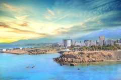 Beautiful view of the Kyrenia Bay in Kyrenia Girne, North Cyprus. On a sunny day Stock Photos