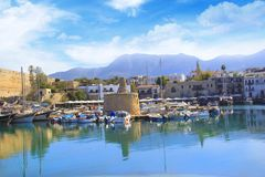 Beautiful view of the Kyrenia Bay in Kyrenia Girne, North Cyprus. On a sunny day Royalty Free Stock Image