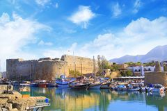 Beautiful view of the Kyrenia Bay in Kyrenia Girne, North Cyprus. On a sunny day Royalty Free Stock Photography