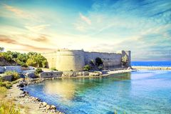 Beautiful view of Kyrenia Castle in Kyrenia Girne, Northern Cyprus. On a sunny day Royalty Free Stock Images