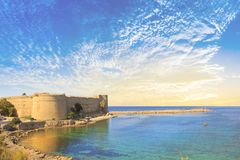 Beautiful view of Kyrenia Castle in Kyrenia Girne, Northern Cyprus. On a sunny day Royalty Free Stock Photos