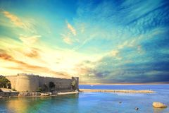 Beautiful view of Kyrenia Castle in Kyrenia Girne, Northern Cyprus. On a sunny day Stock Image