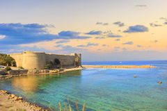 Beautiful view of Kyrenia Castle in Kyrenia Girne, Northern Cyprus. On a sunny day Royalty Free Stock Photo