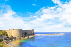 Beautiful view of Kyrenia Castle in Kyrenia Girne, Northern Cyprus. On a sunny day Stock Images