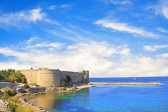 Beautiful view of Kyrenia Castle in Kyrenia Girne, Northern Cyprus. On a sunny day Royalty Free Stock Image