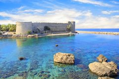 Beautiful view of Kyrenia Castle in Kyrenia Girne, Northern Cyprus. On a sunny day Stock Photography