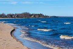 A Beautiful view of Ladoga Lake, Russia. Sand beaches near the Ladoga Lake in Russia royalty free stock photo