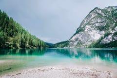 Beautiful view of Lago di Braies or Pragser wildsee, Italy. Royalty Free Stock Photo