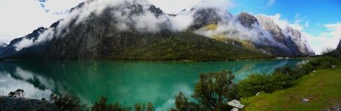 Panoramic view of Llanganuco lake near Huaraz, Peru royalty free stock photography
