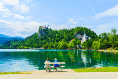Beautiful view by lake Bled Royalty Free Stock Photo