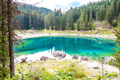 Beautiful view of the Lake Carezza (Karersee) in Italy Stock Images