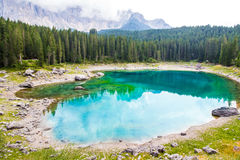 Beautiful view of the Lake Carezza (Karersee) in Italy Stock Photos