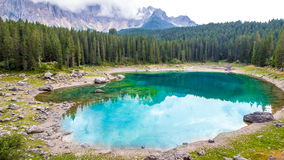Beautiful view of the Lake Carezza (Karersee) in Italy Royalty Free Stock Image