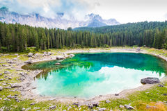 Beautiful view of the Lake Carezza (Karersee) in Italy Stock Photography