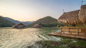 Beautiful view of lake (Khao wong resevoir). In evening Stock Photography