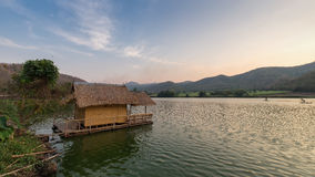Beautiful view of lake (Khao wong resevoir). In evening Royalty Free Stock Photos