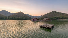 Beautiful view of lake (Khao wong resevoir). In evening Royalty Free Stock Photo