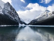 Beautiful view for Lake Louise Canada. Showing an exquisite view of  A Photo of lake louise in Canada Stock Image