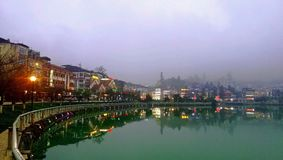 Beautiful view of lake in SaPa. City, Vietnam in the afternoon stock photography
