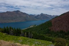 Beautiful view at a lake, trees and mountains on the way to Ben Lomond near Queenstown in New Zealand royalty free stock photography