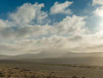 Beautiful view of Lanzarotte desert and blue cloudy sky Stock Photography