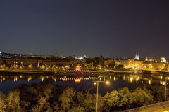 Beautiful view from Letna park at the Prague cityscape at night Stock Photos