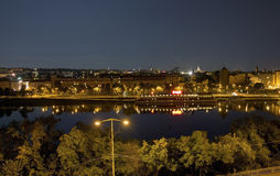 Beautiful view from Letna park at the Prague cityscape at night Royalty Free Stock Photography