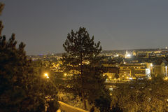 Beautiful view from Letna park at the Prague cityscape at night Royalty Free Stock Images