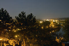 Beautiful view from Letna park at the Prague cityscape at night Royalty Free Stock Photos