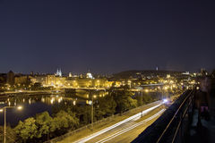 Beautiful view from Letna park at the Prague cityscape at night Stock Photography