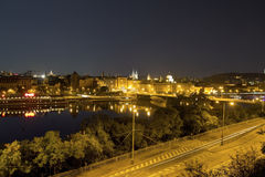 Beautiful view from Letna park at the Prague cityscape at night Royalty Free Stock Photo