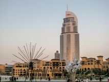 A beautiful view of the light festival in Downtown Dubai, Dubai Mall royalty free stock photography