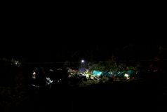 Beautiful view of lighted Camping site at Pangot. Village during nightPangot is a beautiful village located about 15 km from Nainital Royalty Free Stock Photo