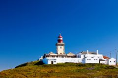 Beautiful view of lighthouse in Cabo da Roca Royalty Free Stock Photo