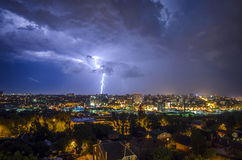 Beautiful view of the lightning in the night city. In Rostov-on-Don royalty free stock images