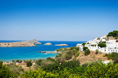 Beautiful view of the Lindos bay and Aegean sea. Beautiful view of the Lindos bay and the blue Aegean sea, Greece Royalty Free Stock Photos