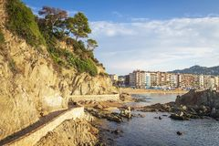 Beautiful view on Lloret de mar on sunny bright day. Waterfront of LLoret de Mar, Costa Brava, Spain. Beautiful view on Lloret de mar on sunny bright day stock photography
