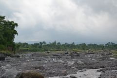 Beautiful view on the location of the former cold lava on Mount Semeru royalty free stock images
