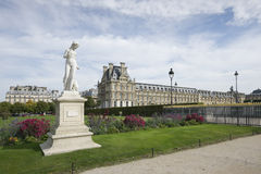 Beautiful view of Louvre and a statue, Paris Royalty Free Stock Photo
