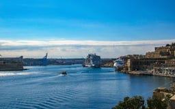 Beautiful view from lower Barrakka Gardens on huge cruise ship in Grand Harbor of Valletta, Malta stock photos