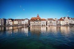 Beautiful view. Lucerne embankment, Switzerland Stock Images