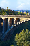 Beautiful view of Luxembourg city bridge. Beautiful cityscape view of Luxembourg city bridge in summer day Royalty Free Stock Image