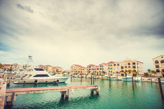 Beautiful view of luxurious white yacht moored at Stock Photography