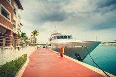 Beautiful view of luxurious white yacht moored at Royalty Free Stock Photo