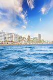 Beautiful view of the main street of Larnaca and Phinikoudes beach in Cyprus. On a sunny day Royalty Free Stock Photo